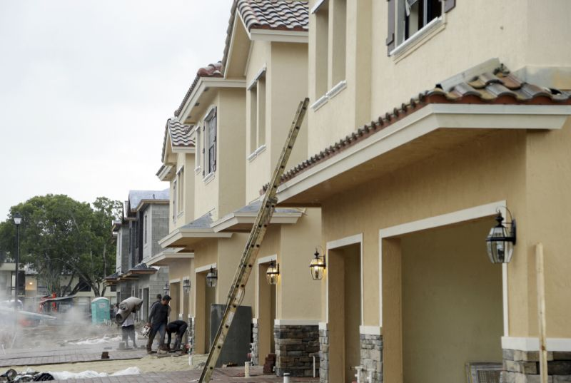 Row of Townhouses during construction