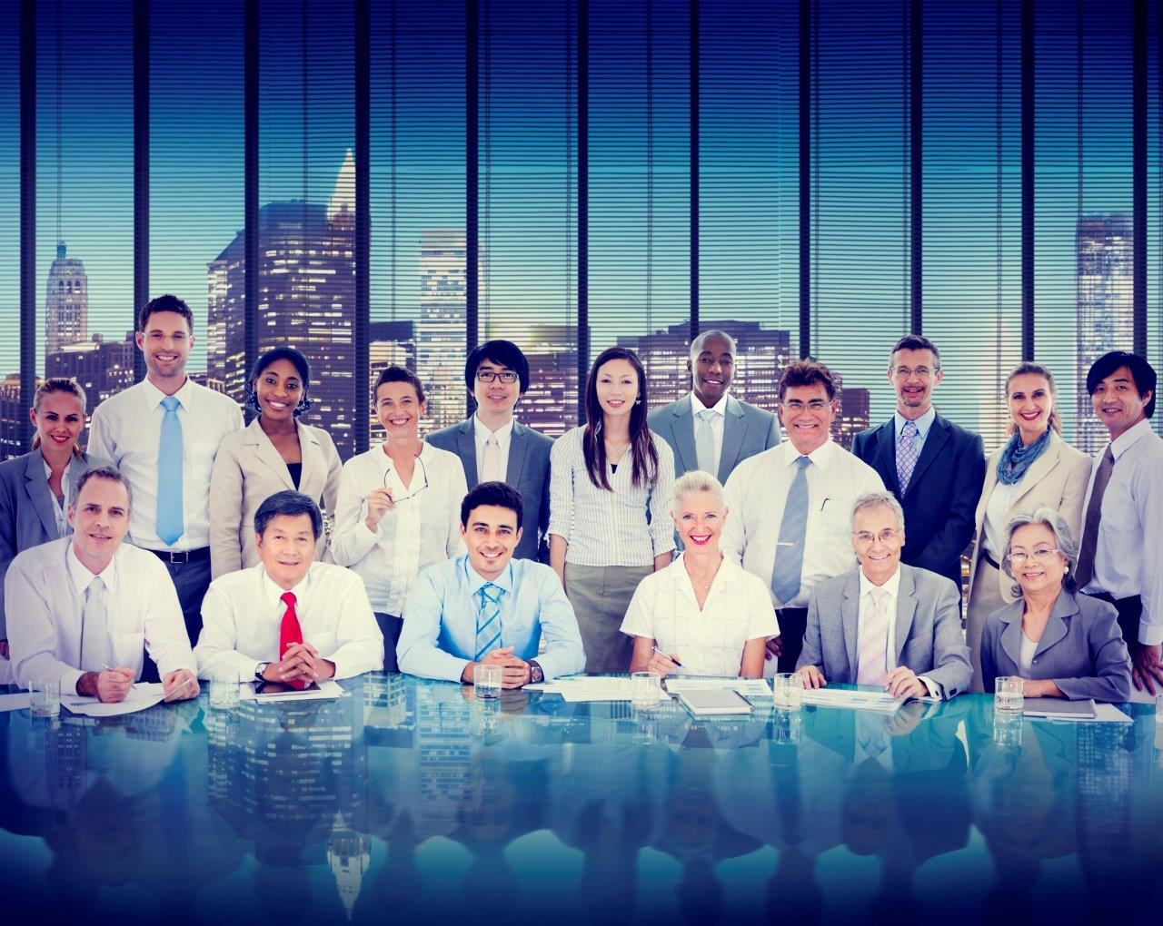Group of professionals with city skyline