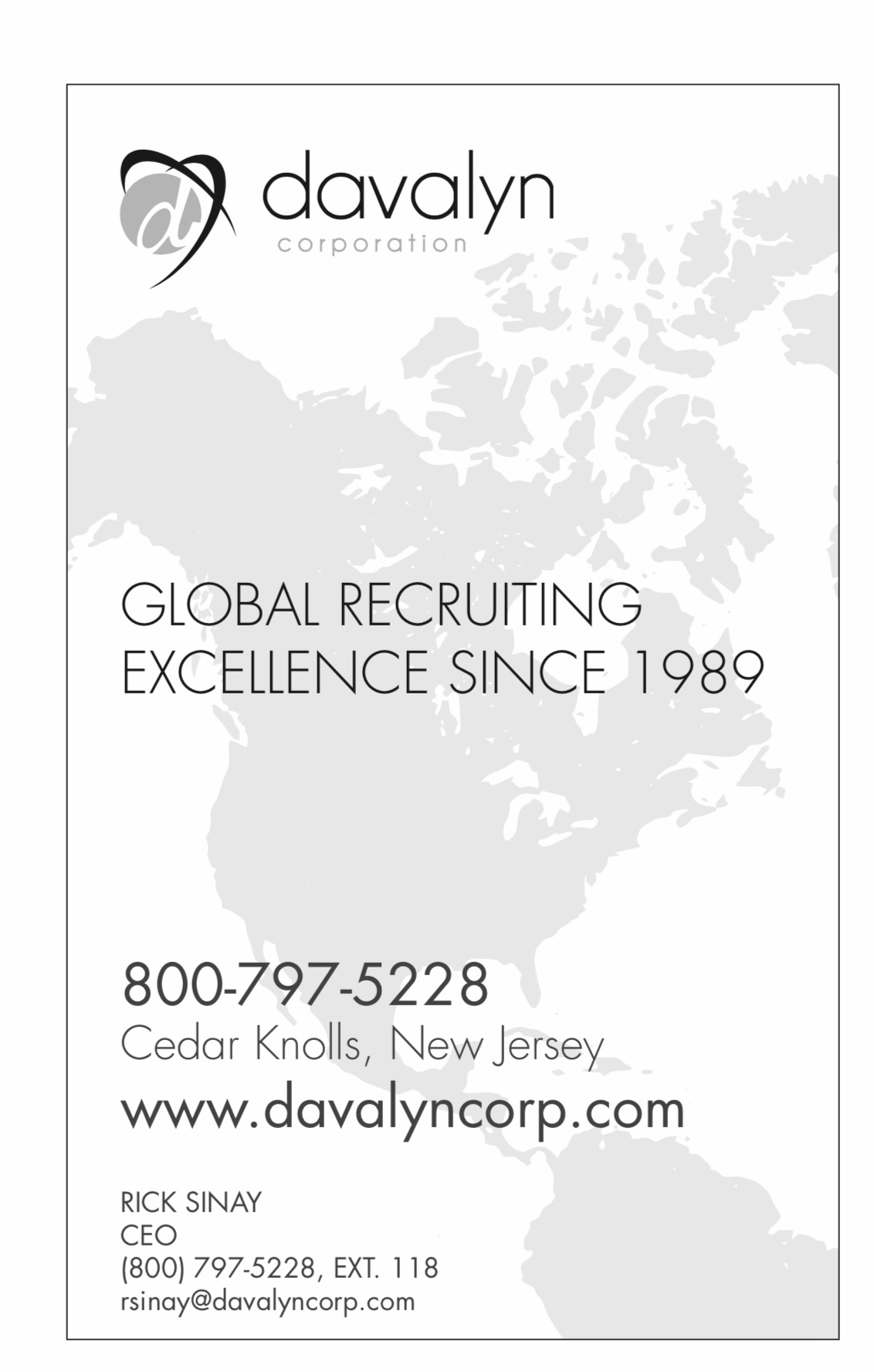 Brouchure ad for Davalyn corporation